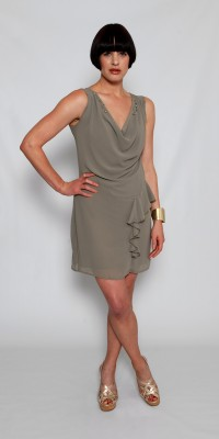 Mk Barcelona Khaki Dress With Pearl Collar Details