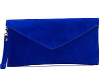 Aliya.J Royal Blue Suede Clutch Bag