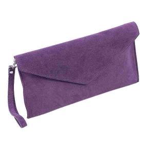 J Purple Suede Clutch Bag