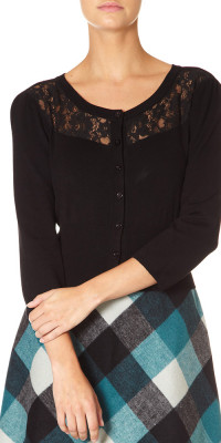 Maria Lace Panel Cropped Cardigan Black