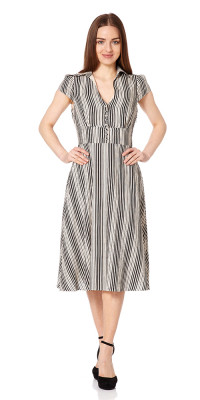 Fever Barbican Striped Tea Dress Long Black/Cream