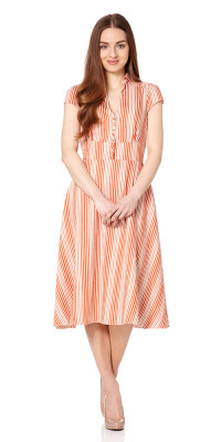 Barbican Striped Tea Dress Long Orange/Cream