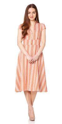 Barbican Striped Tea Dress Long Orange/Cream