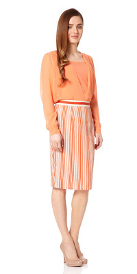 Barbican Striped Pencil Skirt Orange/Cream