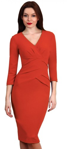 Diva Sylvia 3/4 Sleeve Dress Coral
