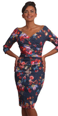 Catherine 3/4 Sleeve Dress Folral Print