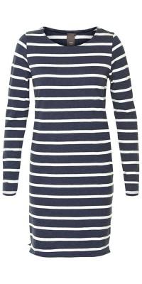ICHI navy and white striped dress