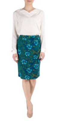Fever Mabel Pencil Skirt Dark Green/Petrol Blue
