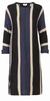 Dark navy&Tan&Black Bamboo Dress